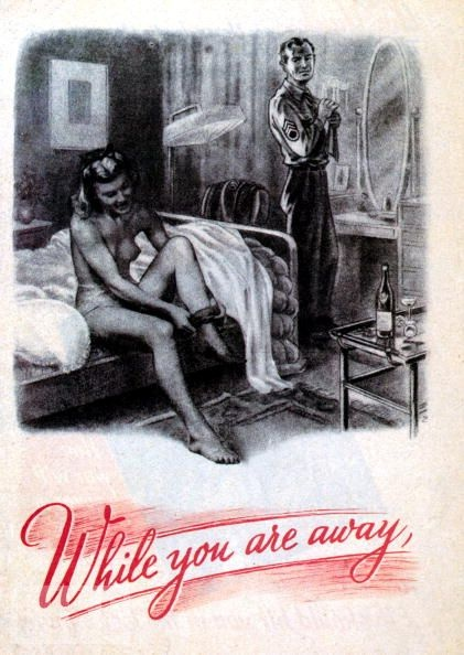 "This 1944 German poster aimed at British troops seeks to raise fears of cuckolding by Americans stationed in the U.K. with a caption that reads: ""The Yanks are 'lease-lending' your women. Their pockets full of cash and no work to do ...."""