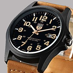 Men's Wrist watch Dress Watch Fashion Watch Quartz Calendar / date / day Leather Band Casual Brown Green Khaki. Best cheap watches are cool watches too. You can buy best watches under 100 dollars. Very affordable watches and mens watch under 100. Best affordable watches - these are amazing watches below 100 bucks,  and affordable mens watches too.