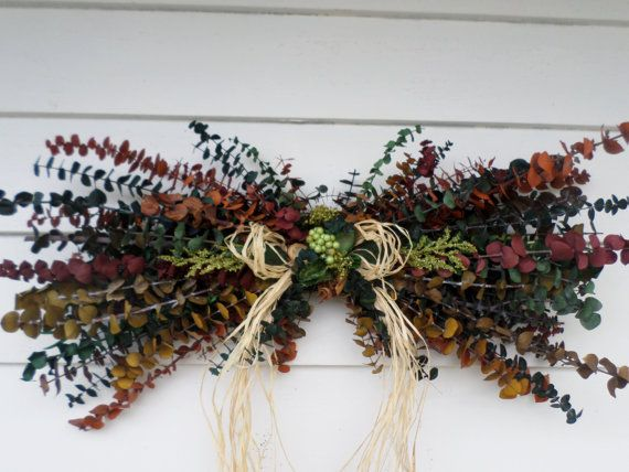 Earthy Eucalyptus Swag  Dried Floral Swag  Rustic by HanselCreek