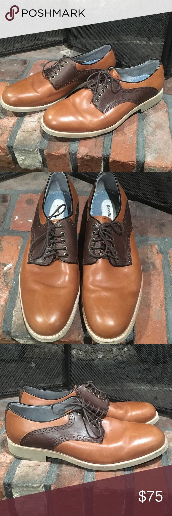 Johnston & Murphy oxford saddle shoes size 10 .5 Johnston & Murphy oxford saddle shoes size 10 .5.   Beautiful leather upper lace up oxford in excellent condition.  Perfect for work. School or any function. Johnston & Murphy Shoes Oxfords & Derbys