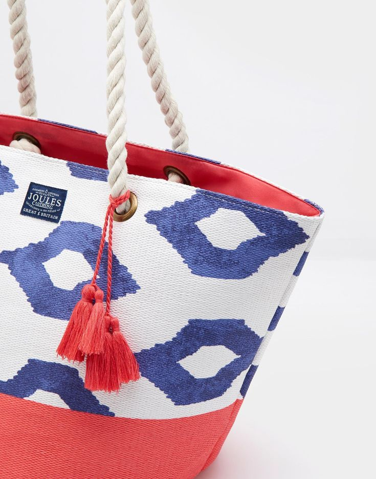 Festival Pool Blue Ikat Beach Bag , Size One Size | Joules UK