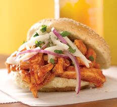 Pizza and Sandwiches - Honey BBQ Pulled Chicken Sandwiches with Jicama-Onion Slaw