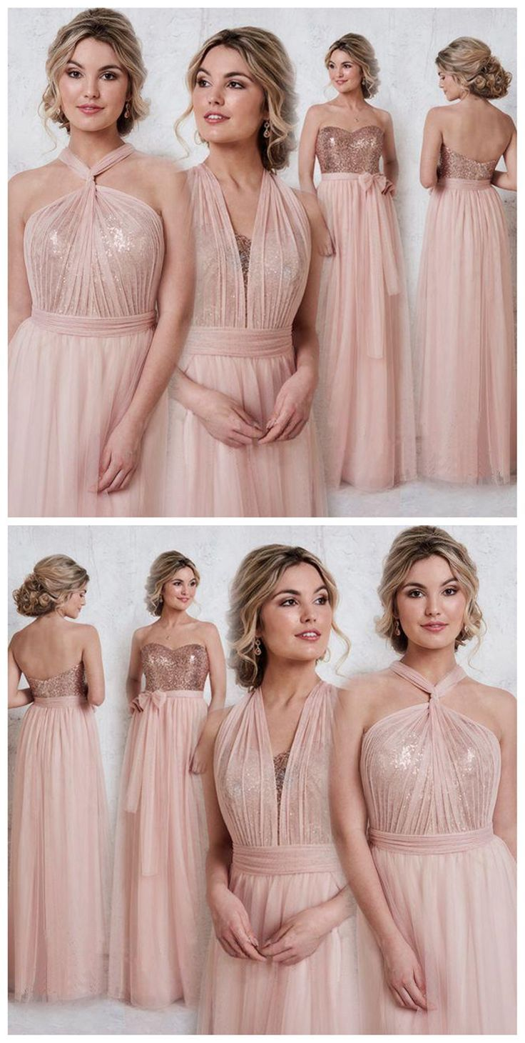 Rose gold sparkly mismatched sequin long bridesmaid dresses cheap