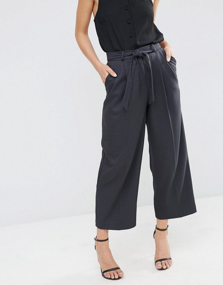 Culotte with Tie Waist in Mini Check