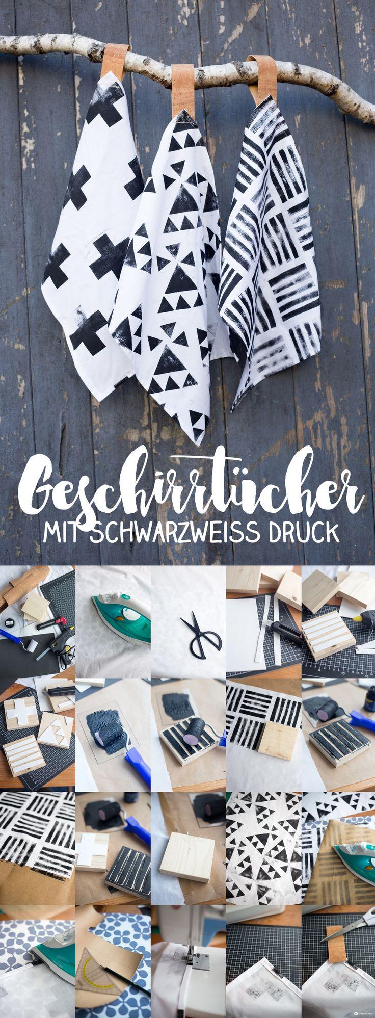 DIY Geschirrtücher mit Schwarzweiß Druck und Schlaufe aus Kork - Textilien bedrucken - Geschenkidee zur Einweihnungsparty