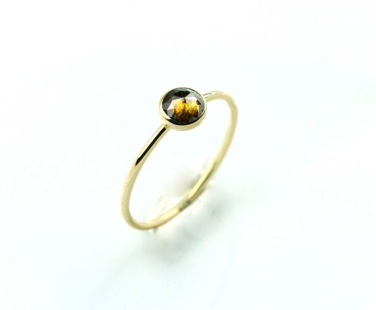 0,35ct Rose Cut Diamond & 18K Gold Stacking Ring