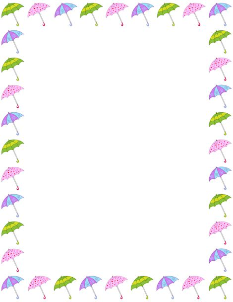 Printable umbrella border. Free GIF, JPG, PDF, and PNG downloads at http://pageborders.org/download/umbrella-border/. EPS and AI versions are also available.