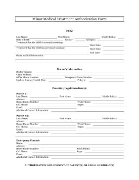 The minor medical treatment authorization form allows the parents and legal guardians of minor children to transfer temporary guardianship to an emergency contact so that they can provide medication and transport to the children. Free to download and print