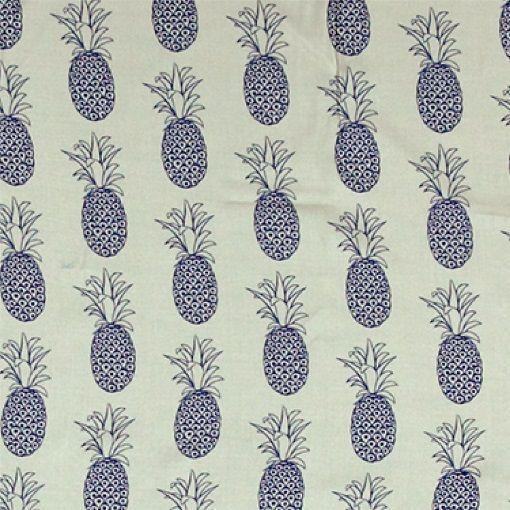 Vevet viskose offwhite m blå ananas