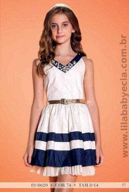 Vestido Azul Perola Diforini Moda Infanto Juvenil