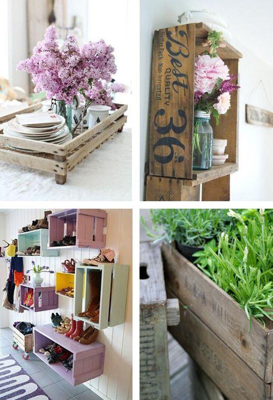 cassette della frutta che diventano librerie, tavolini, scaffali.. read http://www.lifeandthecity.it/riciclo-creativo-le-cassette-della-frutta-diventano-librerie-tavolini-e-scaffali/