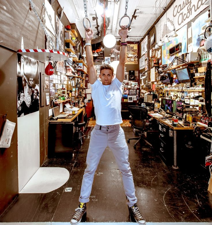 Casey Neistat (what are you posing like that for?) has a false floor in his studio for storage purposes.