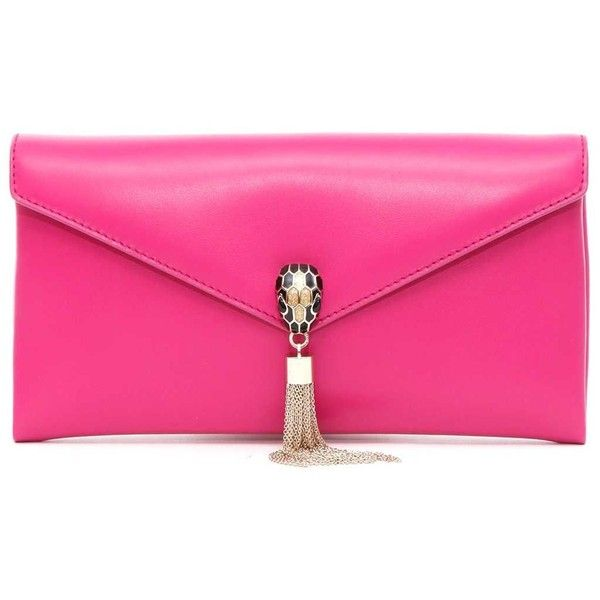 Serpenti Forever Pouch (£880) ❤ liked on Polyvore featuring bags, handbags, clutches, rosa, womenbags, pouch handbags, pink handbags, snap purse, bulgari handbags and bulgari