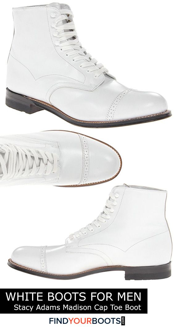 Stacy Adams white leather boots for men - White boots are not only a bold fashion statement but a smart alternative to white sneakers during inclement weather. Here we review our favorite all white boots for men that are available right now.