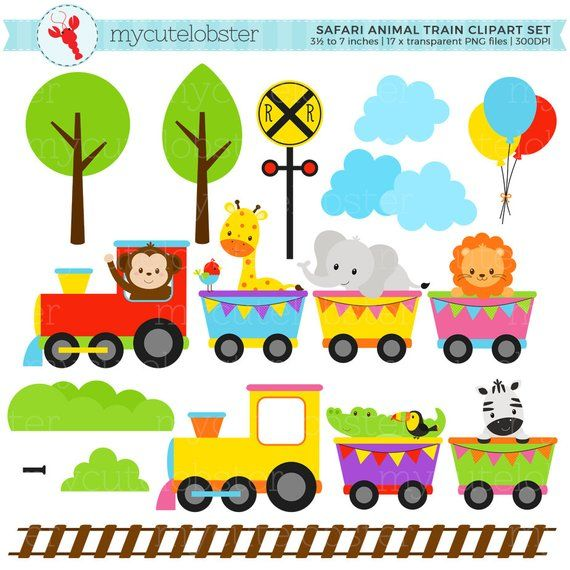 Animal Train Clipart Set Clip Art Set Of Animals Train Baby Animal Train Safari Personal Use Small Commercial Use Instant Download Train Clipart Clip Art Animal Clipart