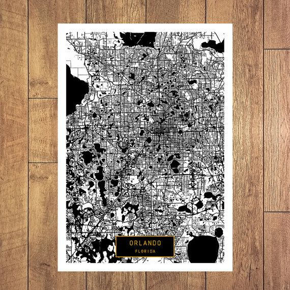 ORLANDO Florida City Map Orlando Florida Art by JackTravelMap