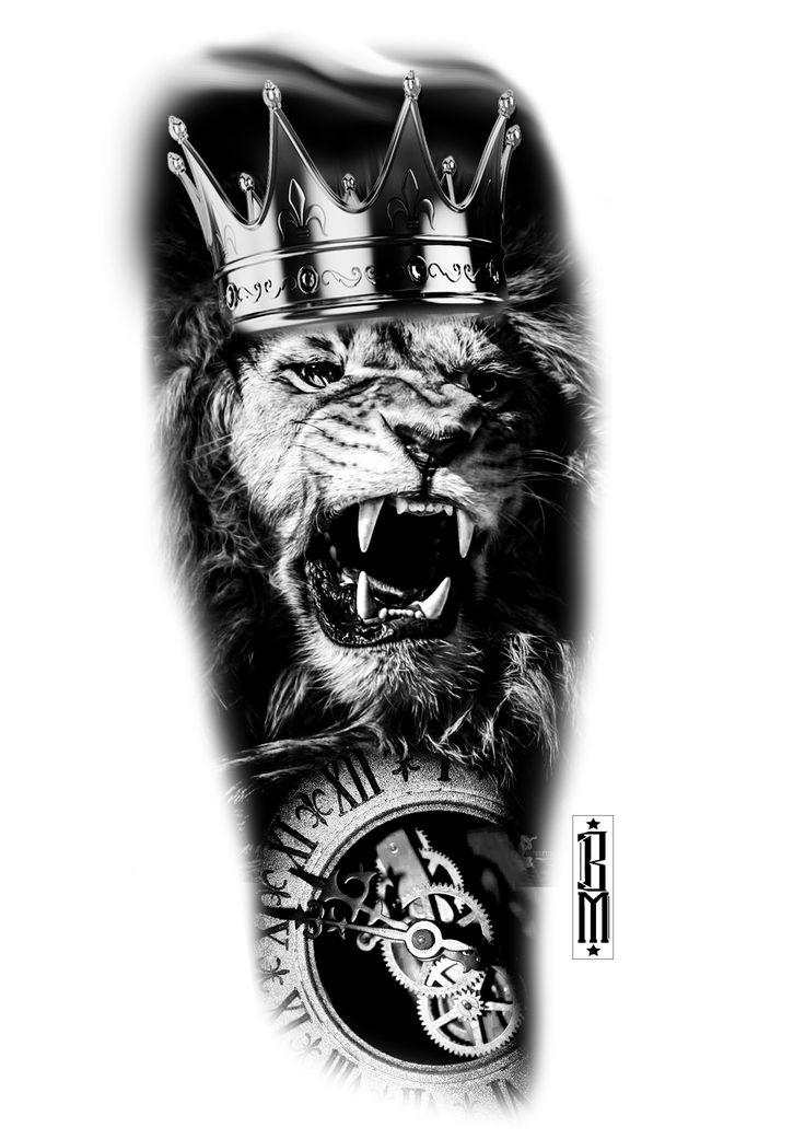 Black And Grey Tattoo Stencil: Lion Crown Clock Design Pocekt Watch Clockface Black And