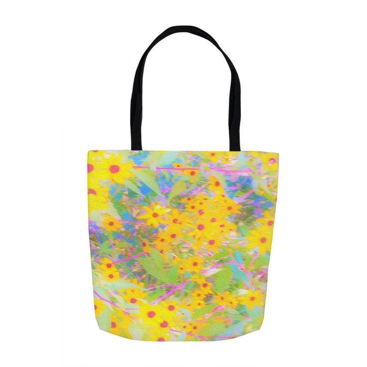Flowers Tote bag Flower tote bag Beach tote. Summer Tote bag Zinnia flower Tote bag for her Zinnia Flower Black tote bag Tote Bag