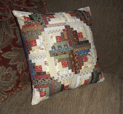 Log Cabin pillow that I made to use at Church because the pew is uncomfortable and makes my back hurt.
