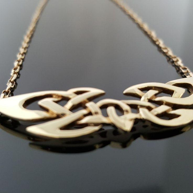 Gold Celtic Knot Pendant. Unique design, made in Ireland.  www.celticicejewelry.com