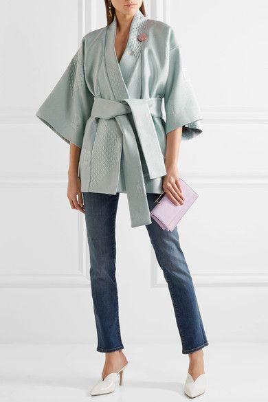 Mint jacquard Slips on 49% wool, 35% silk, 16% nylon; lining: 68% viscose, 32% silk Dry clean Made in England