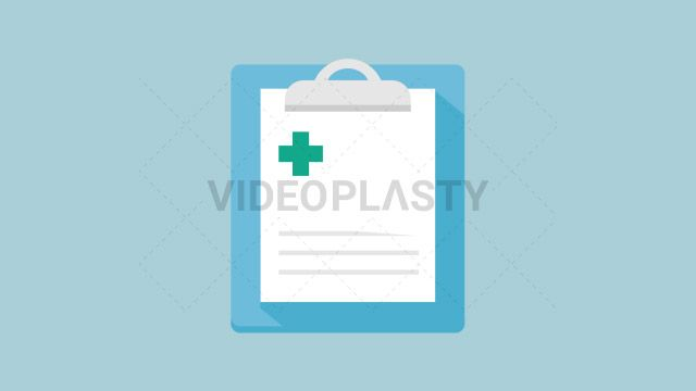 A blue medical paper clipboard with a green cross on top designed in flat design style. Three version are included:in/out loop andin (can be extended with the loop version) Clip Length:10 seconds Loopable: Yes Alpha Channel: Yes Resolution:FullHD Format: Quicktime MOV