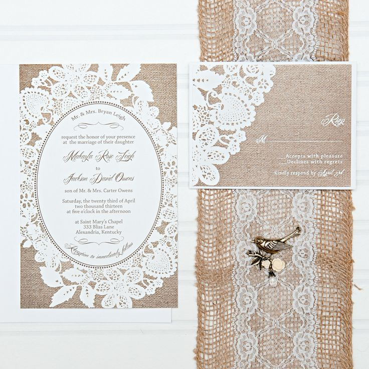 Burlap and Lace Wedding Invitations, Rustic Burlap, Discount Wedding Invitation, Invitation Set, with RSVP cards and address labels, Budget  by InvitingMoments on Etsy