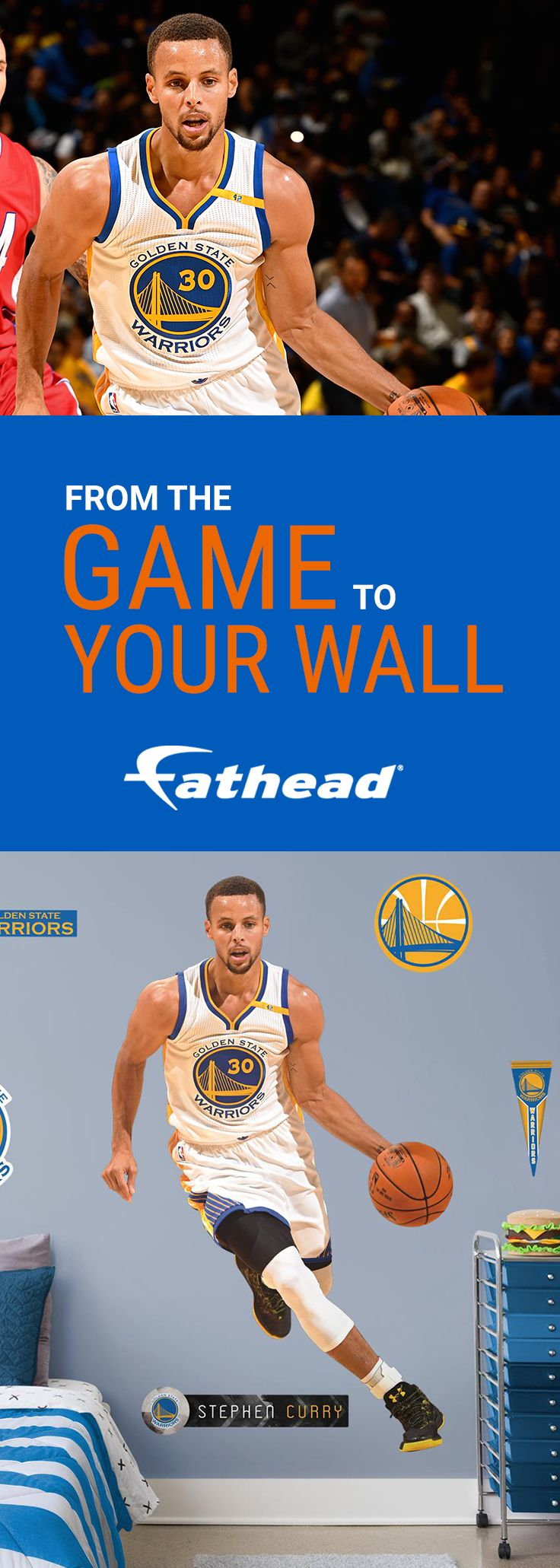 "Give the gift of a Steph Curry Fathead to the sports fan in your life. Whether it's your dad, brother, son, boyfriend, or girlfriend, they can remember Stephen Curry's best moments with a REAL.BIG. Fathead. The Golden State Warriors' Steph Curry life-size wall decal is easy to apply and can be removed without any damage to your wall. Purchase the Steph Curry wall decal or any of your favorite NBA player Fatheads today! Size: 3'11""W X 6'5""H."