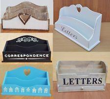 Wooden Letter Rack Holder Vintage Shabby Chic White Black Stressed Mail Post | eBay