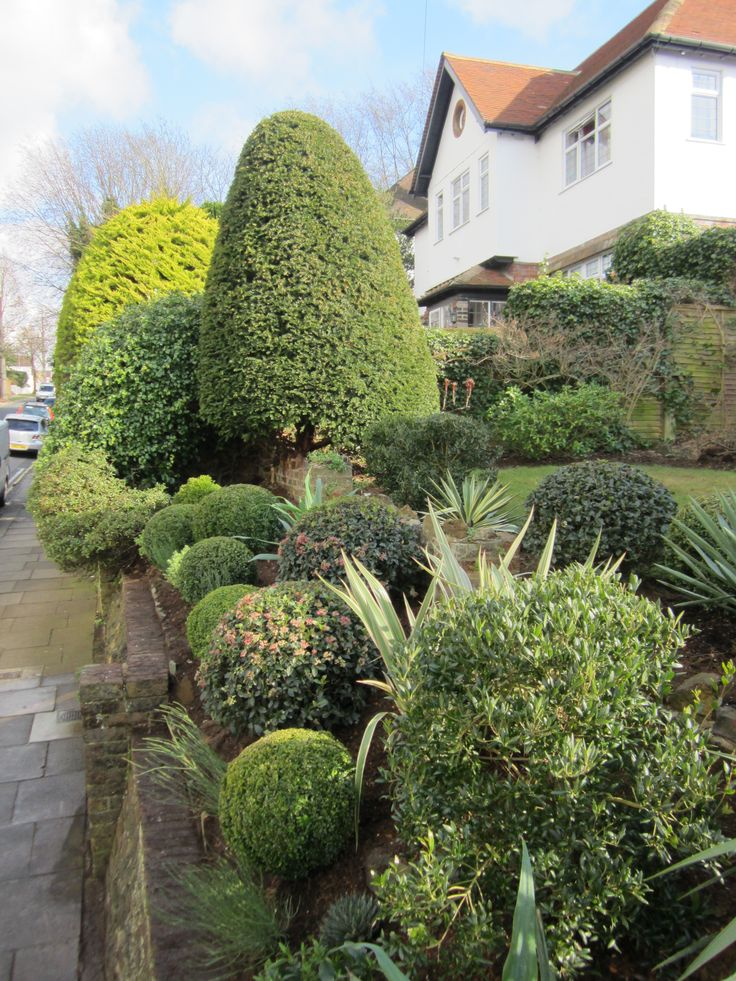 Completed front garden, planted with hardy, evergreens.