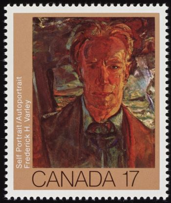 Commemorative Canadian .17¢ stamp with self portrait of Frederick Varley, Group of Seven member