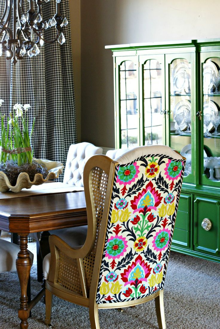 That amazing fabric plus emerald green hutch in background plus black and white check - Pale green dining room ...