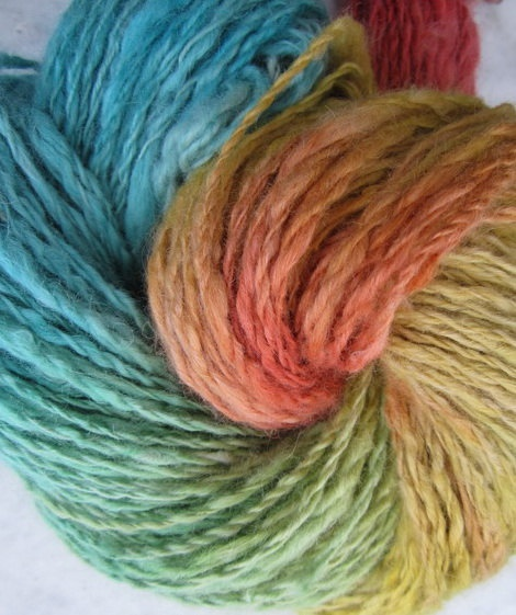 Alpaca wool handspun hand dyed yarn FAIRIES
