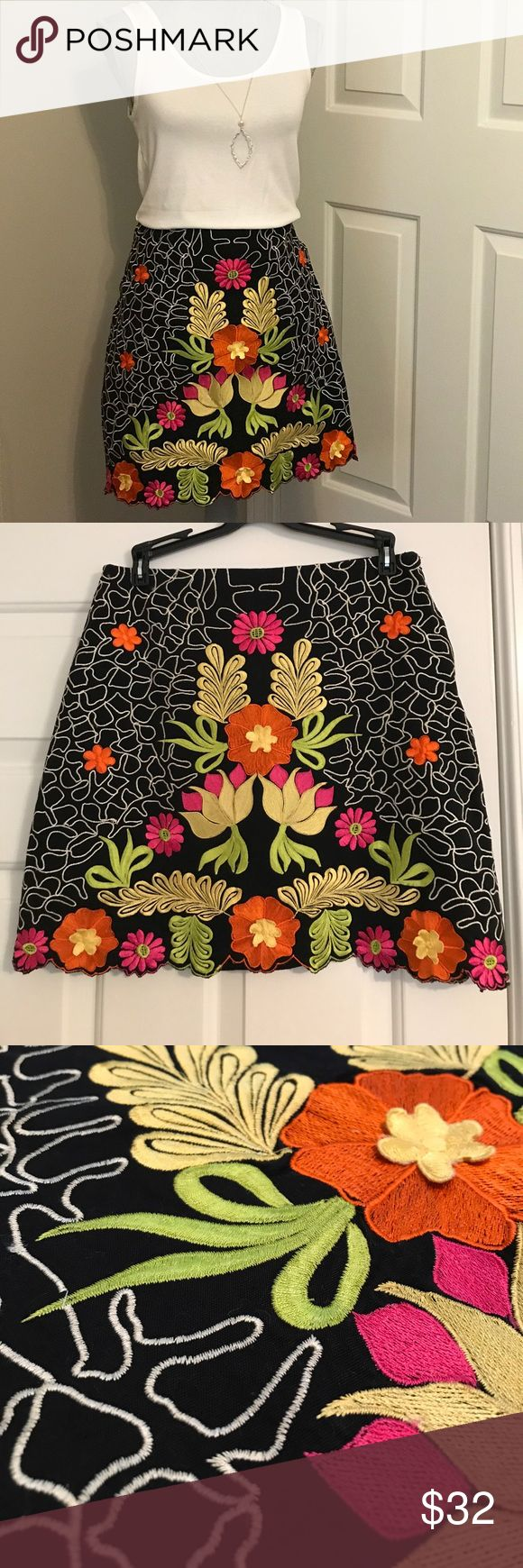 "P.S.N.Y Saman Petite Skirt What a work of art!  This beautiful P.S.N.Y embroidered skirt in size 2 Petite is fully lined and has a side hidden zipper. The waist measures approximately 15"" side to side and 17.5"" from waist to scalloped hemline. P.S.N.Y Samon Petite Skirts"