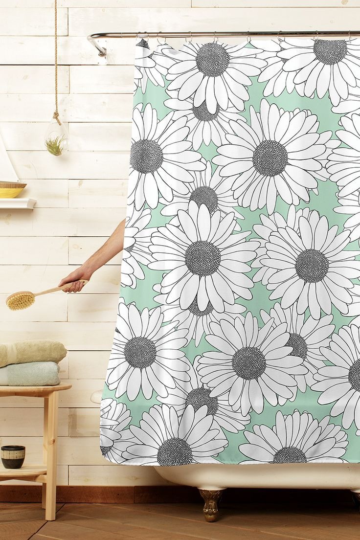 Daisy Mint Blocks Green Shower Curtains Mint Green Shower
