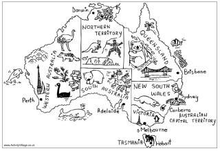 Australia Map Coloring Page Australia colouring pages