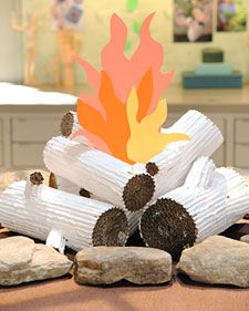Faux logs for Camping Theme!  Creative!  Use with Henry and Mudge story next year and our campfire stories