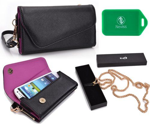 HTC One SV CDMA Universal wristlet wallet in Purple&Black w/accommodating cross body chain Divided compartment created to carry your phone,with a magnetic snap button closure to protect and secure your phone from falling out.. An exterior zip around compartment with multiple card slots and just enough room to hold the essential items you can't leave home without. E.g Cash, receipts,grocery list. R... #Kroo #Wireless
