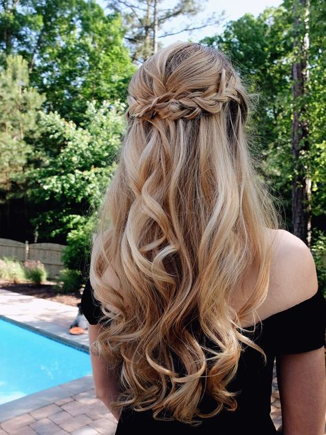 Hair long curlsHair IdeasCurls Waterfall BraidsProm Hairstylecurls colourwedding hairstyleshalf up half downcurls and braid