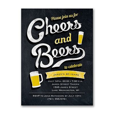 Cheers and Beers - Invitation Adult Birthday Party invitation. Quaint Wedding Stationery