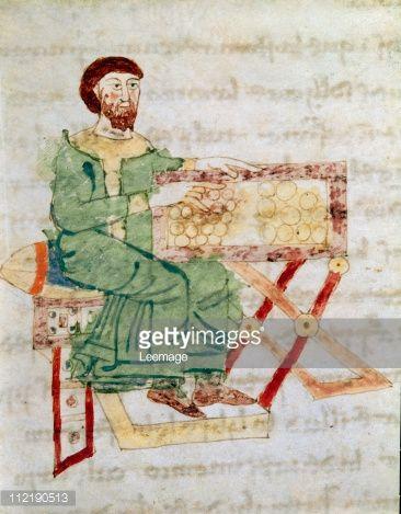 Fine art : Cambist. Miniature from De Universo (De Rerum Naturis), by Rabanus Maurus Magnentius a.k.a Rabanus Maurus (c.780_856). 9th century. Archives of the Abbey of Montecassino, Montecassino, Italy