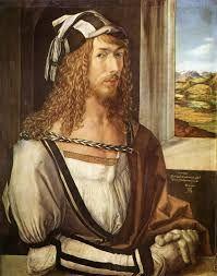 알브레히트 뒤러,   1493년. 이 작품은 본격적인 회화로 그려진 '서양 미술사 최초의 독립 자화상'이다. 그 전까지 화가는 그림의 한 구석에서 관람자를 바라보는 인물로 등장하는 정도로 자기 모습을 기록했다.  창문 너머 보이는 풍경을 배경으로 화가가 실내에 앉아있는데 흰옷에 검은 띠로 포인트를 준 아름다운 옷을 입고 같은 색상의 모자로 한껏 멋을 부렸다.  뒤러는 자신을 곱슬머리 긴 금발의 아름다운 신사로 그렸으며 손에 낀 하얀 장갑은 스스로 지식인 계층임을 강조하려는 듯하다.  화가로서 완벽한 기법을 구사하여 자신을 귀족적이고 아름다운 모습으로 형상화한 이 자화상은 자신이 지식인계층에 속해 있음을 암시한다.