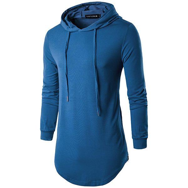 Fashion Personality High Street Hooded T-shirt Men's Casual Pure Color Long Sleeve Hoodies T-shirt at Banggood  #men #fashion