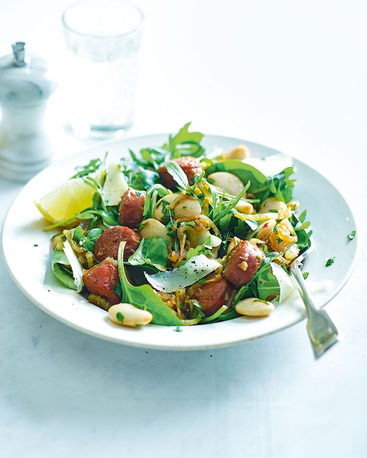 Butter beans warmed in the juices of sherry-glazed chorizo, all tossed with some salad leaves and a scattering of manchego cheese – that's our kind of salad recipe.