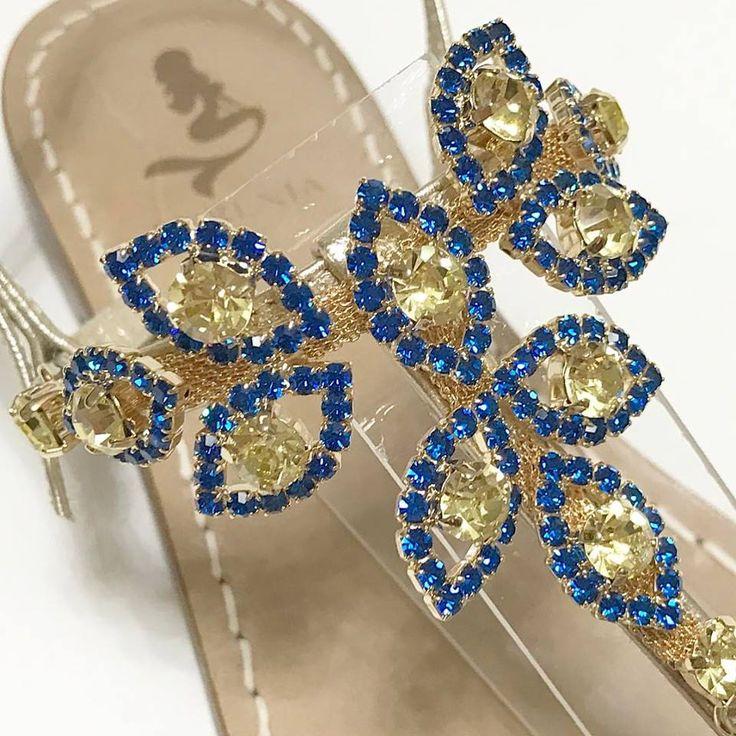 Blue Capri & Jellow 💎Swarovski Crystal Sandals 💎#newcollection #sandaligioiello #sandaliartigianali #sandali #italianstyle #madeinitaly #blu #customized #jewellery #swarovski #shoes #instadaily #blogger #fashion #shopping #tailormade #mare #amalficoast #usa #verocuoio #moda #saturday #love #summertime #holiday #syrenia #fashion