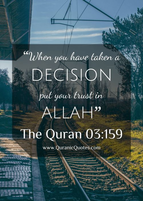 """#226 The Quran 03:159 (Surah al-Imran)""""""""When you have taken a decision, put your trust in Allah."""" """""""