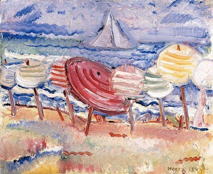 """MOSES LEVY (TUNISI 1885 - VIAREGGIO 1968), """"OMBRELLONI SULLA SPIAGGIA"""" firmato in basso a destra olio su tavola Dimensions: cm. 21.5 x 26.5 Invaluable"""