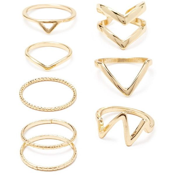 Forever 21 Forever 21 Chevron Midi Ring Set found on Polyvore featuring jewelry, rings, joias, chevron ring, forever 21, forever 21 rings, chevron jewelry and mid-finger rings