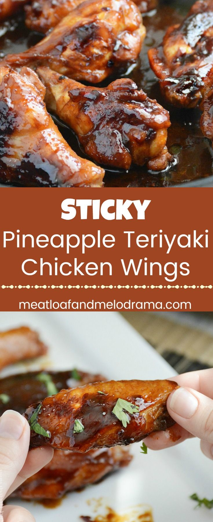 Sticky Pineapple Teriyaki Chicken Wings - Chicken wings marinated in a delicious sweet & savory pineapple teriyaki sauce made with soy, ginger, garlic, pineapple and beer! Perfect for game day parties or an easy dinner! from Meatloaf and Melodrama #gamedayfood #partyfood