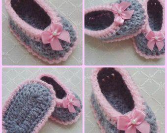 Сладкий серые и розовые пинетки - вязание крючком пинетки - девочка пинетки - детская обувь - пинетки детские (для новорожденных)